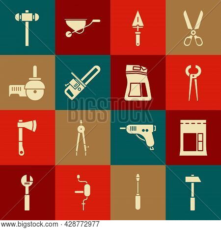 Set Hammer, Cement Bag, Pincers And Pliers, Trowel, Chainsaw, Angle Grinder, Sledgehammer And Icon.