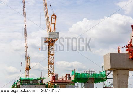 Infrastructure Construct Concepts, Construction Of A Mass Transit Train Line In Progress With Constr