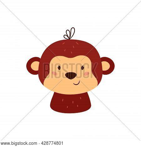 Cute Monkey. Brown Chimp. Animal Kawaii Character. Funny Little Monkey Face. Vector Hand Drawn Illus