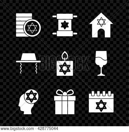 Set Jewish Coin, Torah Scroll, Synagogue, Orthodox Jewish Hat, Gift Box, Calendar, And Burning Candl