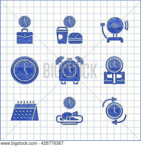 Set Alarm Clock, Food Time, Clock With Arrow, Time Is Money, Calendar, Ringing Alarm Bell And Work I