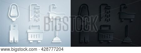 Set Toolbox, Bathtub, Work Overalls, Rubber Plunger, Shower And Toilet Urinal Pissoir Icon. Vector