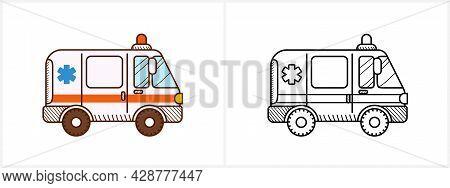 Ambulance Car Coloring Page. Ambulance Side View