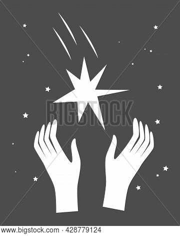 Cartoon Illustration Of Hands Reaching Grabbing A Shining Star. Dreaming And Making Goal Concept, Ve