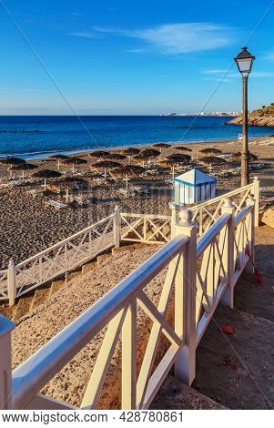 Steps on the beach in the rock. El Duke beach. Tenerife. canary islands, spain