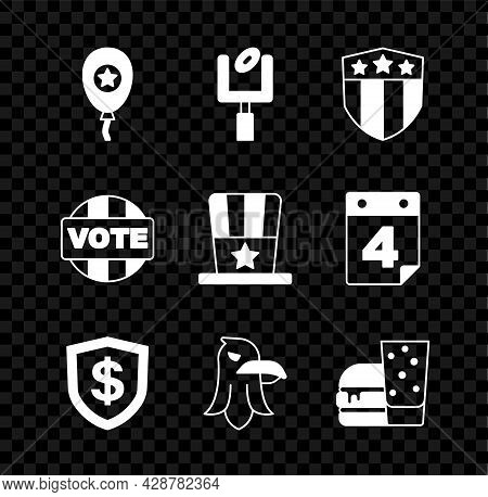 Set Balloons, American Football Goal Post, Shield With Stars, Dollar, Eagle, Burger, Vote And Patrio
