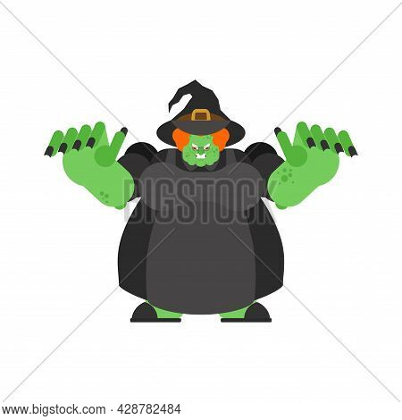 Evil Witch Isolated. Angry Sorceress. Vector Illustration