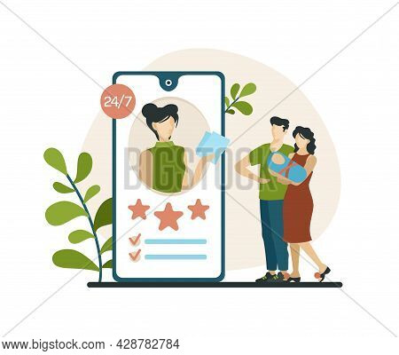 Choosing Babysitter In Mobile Application. Married Couple With Baby Studying Characteristics Of Nann