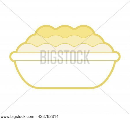 Mashed Potatoes In Plate.  Plate Of Porridge Isolated. Vector Illustration