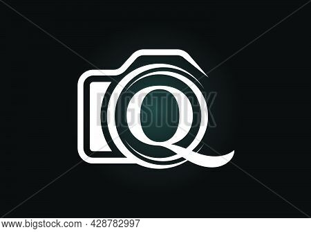 Initial Q Monogram Letter Alphabet With A Camera Icon. Photography Logo Vector Illustration. Modern