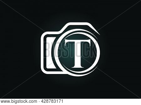 Initial T Monogram Letter Alphabet With A Camera Icon. Photography Logo Vector Illustration. Modern