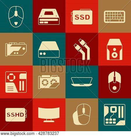 Set Motherboard Digital Chip, Computer Mouse, Uninterruptible Power Supply, Ssd Card, Server, Data,