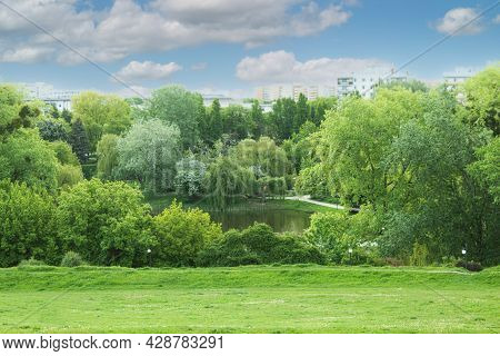 Beautiful Landscaped Park With Space For Text. Green Environment In A Landscaped City Park. Copy Spa