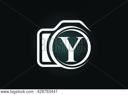 Initial Y Monogram Letter Alphabet With A Camera Icon. Photography Logo Vector Illustration. Modern