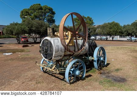 Aliwal North, South Africa - April 23, 2021: Historic Steam Powered Machine At The Church Square Mus