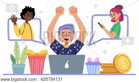 Refer A Friend Vector Illustration. Young Man Invites His Friends To A Referral Program, Marketing C