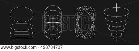 Set Of Retrofuturistic Circle Shapes. Cyber Retro Design Elements. Collection Of Perspective Circula