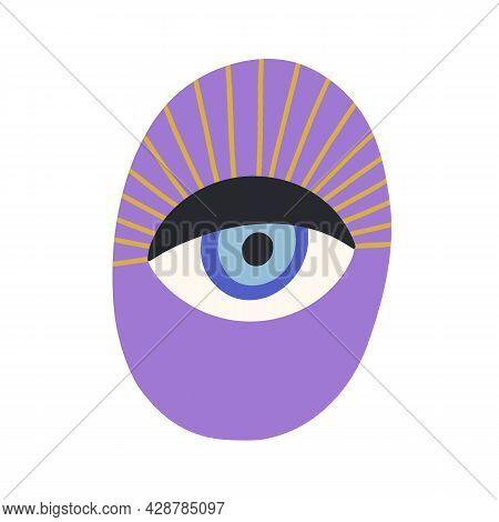 Magic Evil Eye With Eyelashes. Esoteric Sacred Eyeball With Mystical Look. Ancient Spiritual Symbol