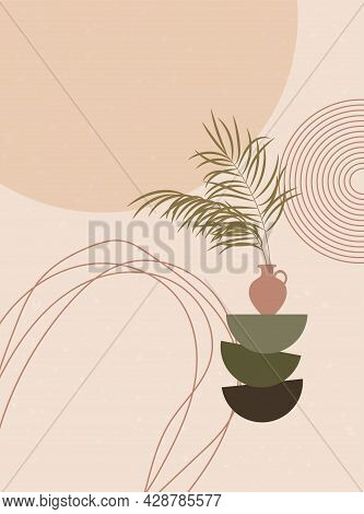 Abstract Contemporary Background With Natural Shapes, Leaves, Vases, Organic Shapes. Still Life In P