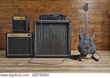 Guitar apmlifier and electric guitar set up in a studio