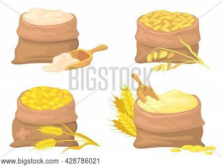 Bags Of Wheat, Rye And Flour Vector Illustrations Set. Sacks With Barley And Oat Grains, Seeds Isola