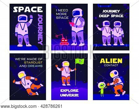 Bright Greeting Card Designs With Happy Cosmos Explorers. Colored Astronauts Exploring Open Space. G