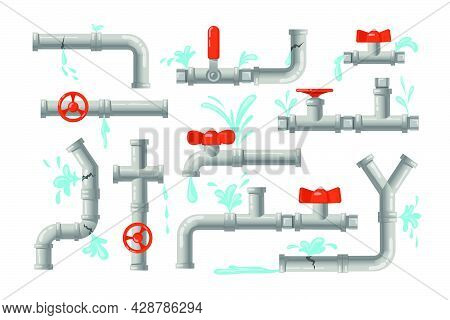 Broken Pipes Set. Metal Pipelines With Valves, Taps And Leaking Water, Pipe Burst. Vector Illustrati