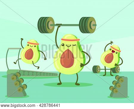 Cartoon Avocado Characters Exercising In Gym Vector Illustration. Cute And Happy Fruits Working Out