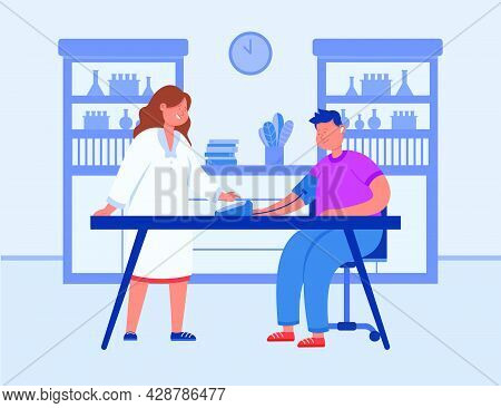 Cartoon Doctor Measuring Blood Pressure Of Patient At Hospital. Physician And Sick Man Sitting At Ta