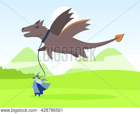 Cartoon Old Elf And Flying Dragon Flat Vector Illustration. Tiny Bearded Sage Holding Giant Dragon F