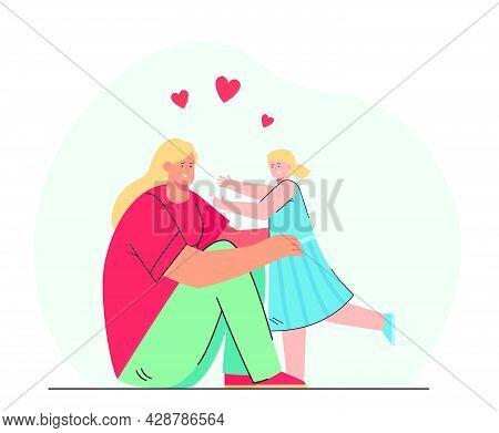 Cartoon Mother And Daughter Hugging. Flat Vector Illustration. Woman Sitting On Floor And Hugging Li