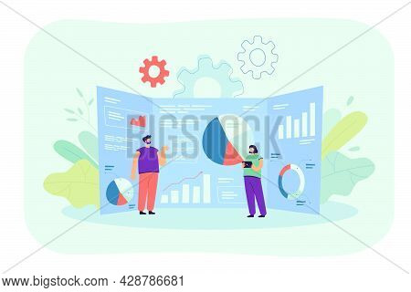 Cartoon Tiny Analysts And Giant Research Dashboard With Data. Flat Vector Illustration. Young People
