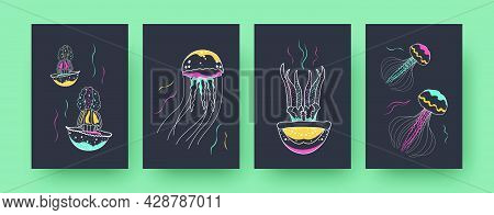 Collection Of Contemporary Art Posters With Colorful Medusas. Jellyfishes Swimming Underwater Pastel