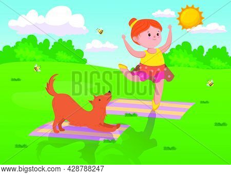 Cute Cartoon Girl Doing Yoga With Dog Outdoors. Female Child On Yoga Mat Doing Exercises And Poses,