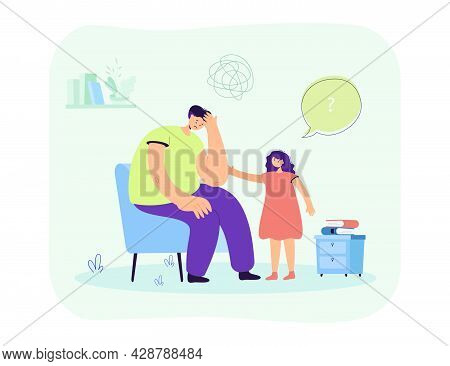Daughter Worrying About Sad Father. Girl Comforting Confused Male Character Sitting On Chair Flat Ve