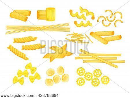 Different Types Of Italian Pasta Flat Vector Illustrations Set. Raw Macaroni, Penne, Farfalle, Ziti,