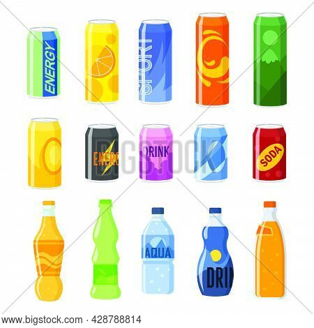 Drinks In Cans And Plastic Bottles Vector Illustrations Set. Collection Of Soft, Energy And Fizzy Dr