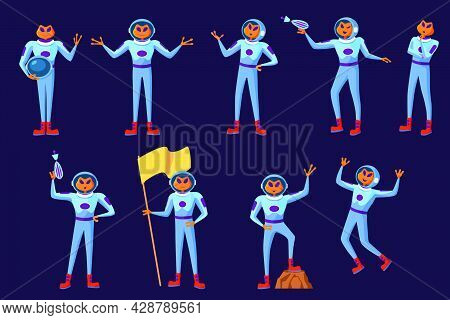 Funny Aliens Men In Blue Spacesuits Set.  Cute Futuristic Humanoid Astronauts Galaxy Invaders Cartoo