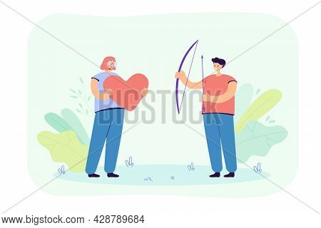 Girl And Guy Holding Giant Heart, Bow And Arrows In Hands. Flat Vector Illustration. Man And Woman I