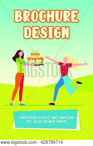 Girlfriends Celebrating Birthday. Cheerful Girl Getting Huge Cake With Candles. Flat Vector Illustra