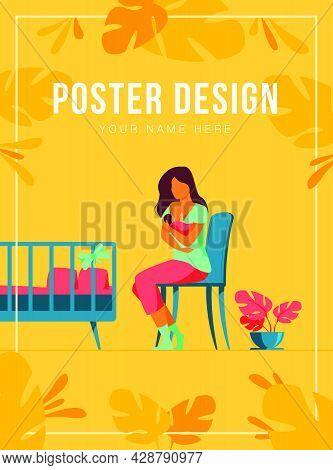 Happy Mother Breastfeeding Her Baby Flat Vector Illustration. Cartoon Parent Giving Milk To Infant V