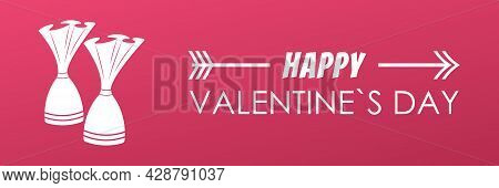 Wide Pink Banner Of Happy Valentine's Day. Bright Advertising Flyer With The Inscription. For Websit