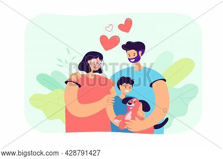 Happy Young Parents With Child And Dog Isolated Flat Vector Illustration. Cartoon Mother, Father And