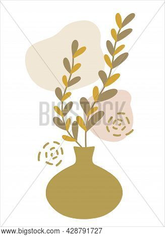 Abstract Botanical Composition Collage With Vase, Leaf Plant Branch Silhouette, Irregular Organic Sh