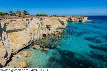 Torre Sant Andrea Near Torre Dellorso, Salento Sea Coast, Apulia, Italy. Beautiful Rocky Beach With