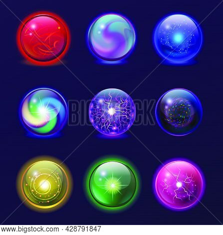 Magic Balls Illustration Set. Energy Mysterious Globes, Magical Crystal Glass Prediction Supernatura