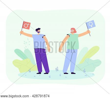 Man And Woman Arguing Vector Illustration. Male And Female Characters Fighting For Their Rights, Mis