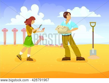 Man And Woman In Search Of Treasures. Cartoon Vector Illustration. Treasure Hunters With Map And Lou