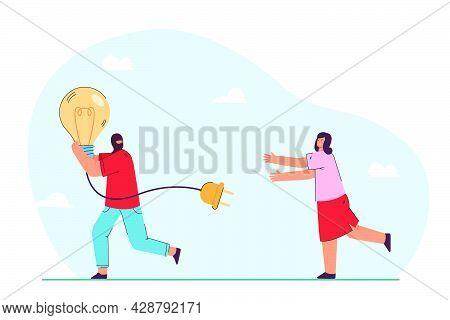 Man Running Away With Stolen Idea Symbolized By Light Bulb. Man Stealing Light Bulb From Woman. Fema