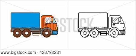 Truck Coloring Page For Kids. Truck Side View
